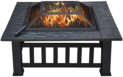 Amazon Com Yaheetech  Outdoor Metal Firepit Square Table Backyard Patio Garden Stove Wood Burning Fire Pit With Spark Screen Log And Cover