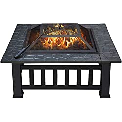 "Yaheetech 32"" Outdoor Metal Firepit Square Table Backyard Patio Garden Stove Wood Burning Fire Pit with Spark Screen, Log Poker and Cover"