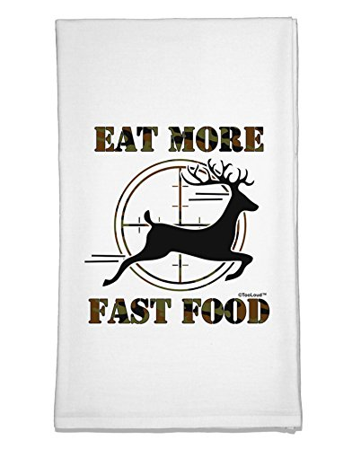 TooLoud Eat More Fast Food - Deer Flour Sack Dish Towel