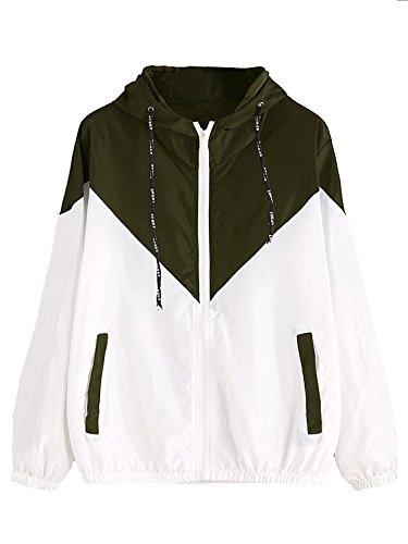 Milumia Women's Color Block Drawstring Hooded Zip Up Sports Jacket Windproof Windbreaker (M/US 4, Green)