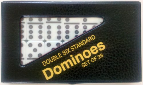 White Standard Double 6 Dominoes Game with Black Vinyl Case