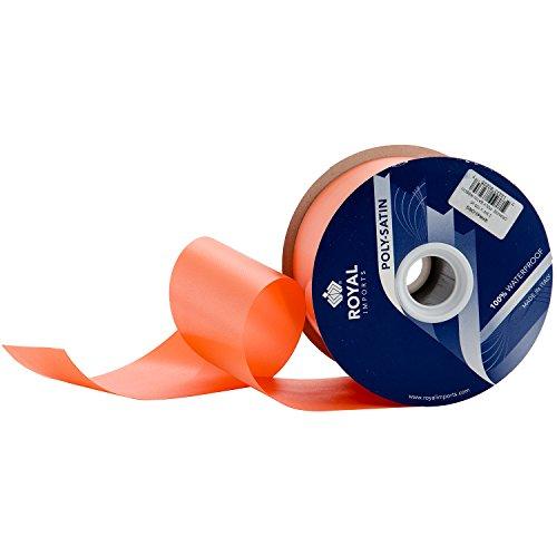 Orange Poly Satin Waterproof Ribbon 2.75