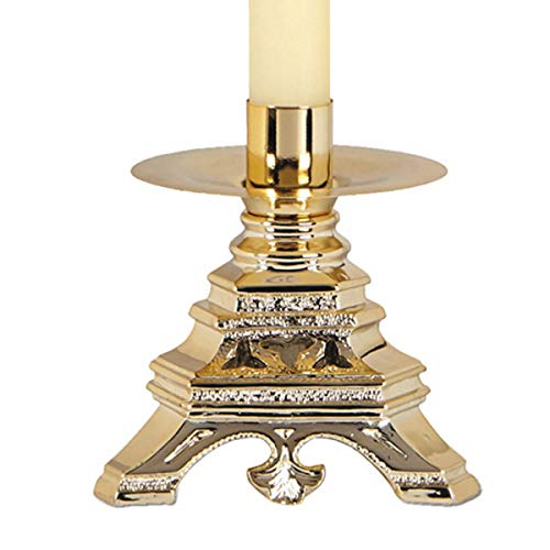Versailles Religious Resin Candle Holder with Brass Finish, 6 1/2 (Versailles Candle)