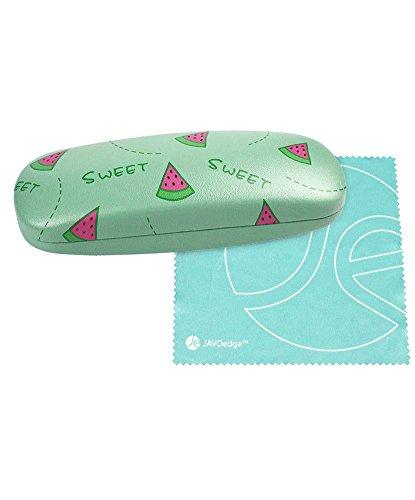 JAVOedge Hard Shell Cute Watermelon Pattern Eyeglass Case and Bonus Free Soft Microfiber Lens Cleaning Cloth