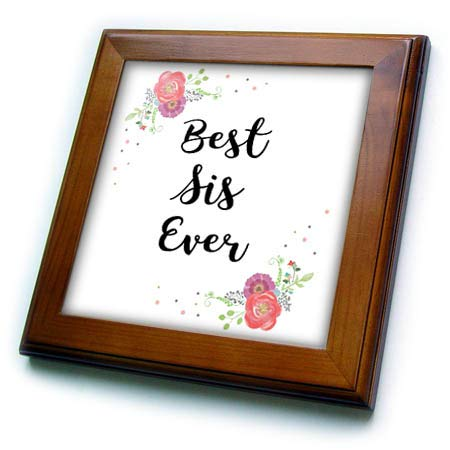 Sister Framed Tile - 3dRose InspirationzStore - Love Series - Floral Best Sis Ever Pretty Watercolor Pink Flowers Sister Love Gift - 8x8 Framed Tile (ft_315718_1)