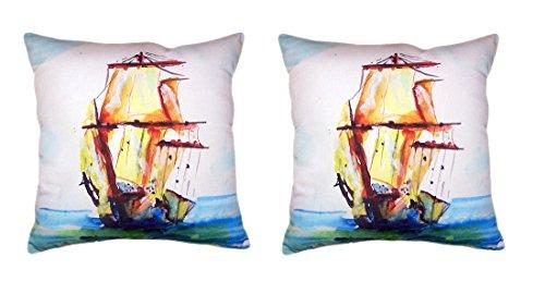 Pair of Betsy Drake Tall Ship No Cord Pillows 18 X 18