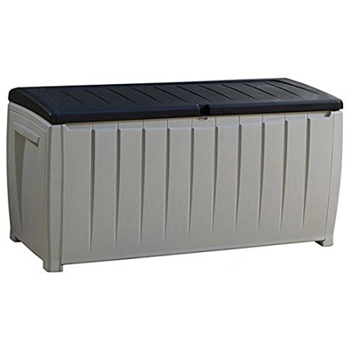 Top Selling Solid Plastic Weather Proof Two-Tone Black Gray 90-Gallon Lightweight Storage Container Bench Utility Box- Perfect For Deck Pool Patio Storage Room- Deep Cargo Hull Flip Up Lid Durable (Top Plastic Bench)