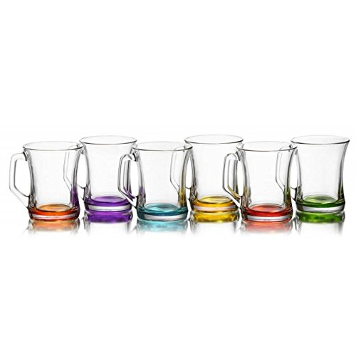 Artcraft Gürallar zpl404 Coral Zen + Tea Glasses 6 pcs with Cocoa Stained Handle Latte Macchiato Bardagi Kulplu Renkli Cay