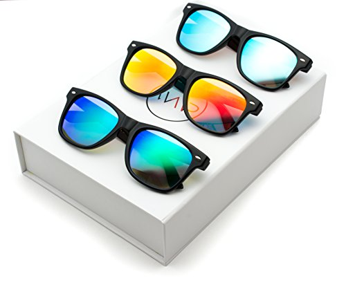 WearMe Pro - Horn Rimmed Sunglasses Revo Large Mirror Lens Sunglasses Box: Mirror Blue / Mirror Green / Mirror Red