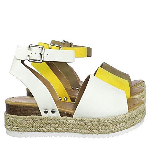 (SODA JDTopic Women's Open Toe Ankle Strap Espadrille Sandal (5.5 M US, Off White))