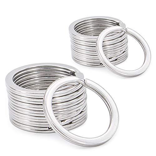 Round Flat Key Chain Rings, Metal Split Ring for Home Car Keys Organization 20pcs,Silver ()