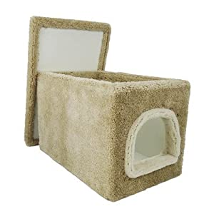 CozyCatFurniture Carpet Cat Litter Box Furniture with Cover