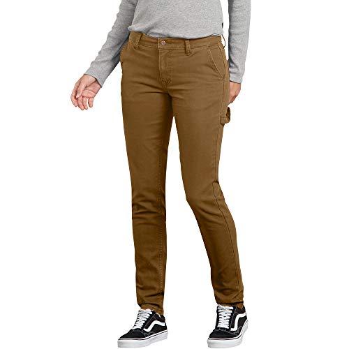 (Dickies Women's Slim Straight Stretch Duck Carpenter Pant, Rinsed Brown, 12)