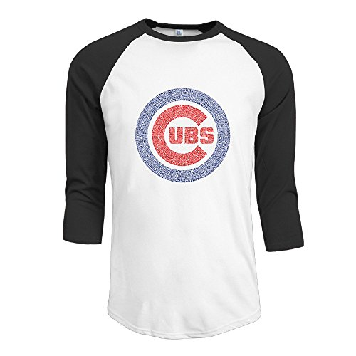 mens-graphic-chicago-baseball-ubs-logo-3-4-sleeve-t-shirts-black-size-xl