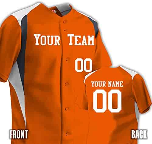 huge selection of ca45e a29df Custom Baseball Jersey Men s 3 Color Trim 6 Button Basic Team Name and  Numbers