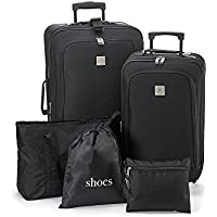 Travel Quarters Black 5-pc. 2-wheeled Luggage Set (Black)
