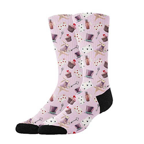 Men&Women Pink Rabbit Poker Magic hat Crew Socks Warm Over Boots Stocking Trendy Long Socks
