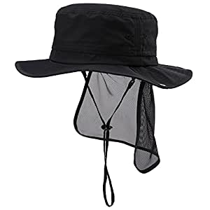 Siggi Outdoor UPF 50+ Packable Boonie Hat Vented Crown&Lining for Men Womens Bucket Sunhat Cap Black