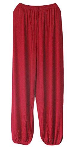AvaCostume Men's Lightweight Loose Yoga Pants Elastic Waist Modal Yoga Harem Pants WineRed L (Red Yoga Pants Harem)
