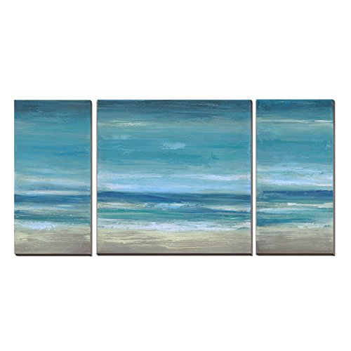 Blue Seascape Ocean Canvas Prints With Embellishment Landscape Pictures Paintings Canvas Wall Art Sea Beach 3 Panels Pictures Artwork for Home Decor,Stretched- Ready to hang! (Photo Canvas)