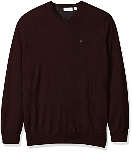 - Calvin Klein Men's Big and Tall Merino Solid V-Neck Sweater, Dark Chestnut, 3X-LARGE T
