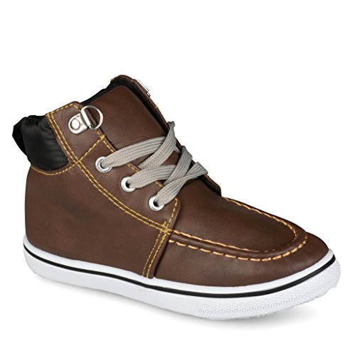 [C9100-BRN-9] Boys High Top Sneakers: Workboot Style Tennis Shoes, Moc Toe, Size 9 - Dockside Collection
