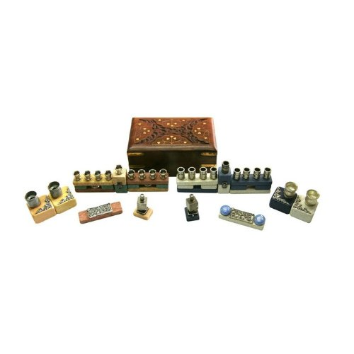 Stone Hanukkah Menorah with Shabbat Candlesticks, Dreidel and Box