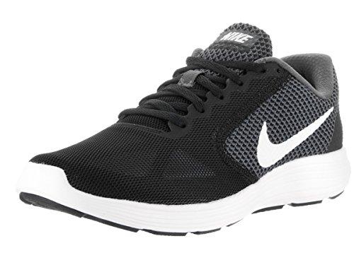 NIKE Women's Revolution 3 Running Shoe, Dark Grey/White/Black, 10 B(M) US (Women Running Nike Shoes Black)