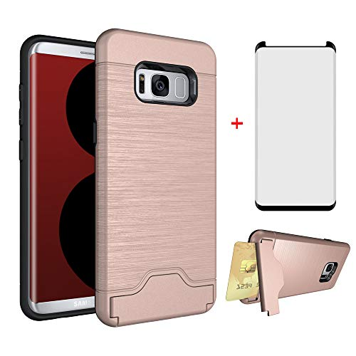 Phone Case for Samsung Galaxy S8 with Tempered Glass Screen Protector Cover and Credit Card Holder Wallet Stand Kickstand Slim Hard Hybrid Cell Accessories Glaxay S 8 8S Edge GS8 Women Cases Rose Gold
