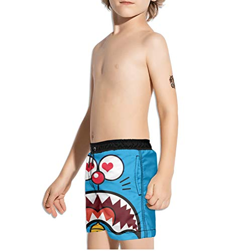 Love you funny robotic kitty cat face Boys Beach Shorts Quick Dry for Surfing with Pockets by DKDKLOOO