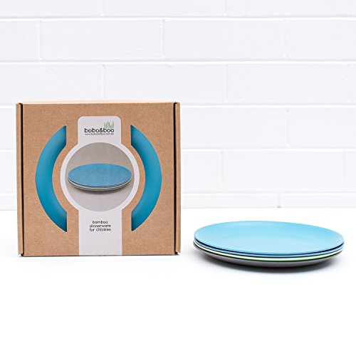 Bobo&Boo Bamboo Kids Plates, Set of 4 Eco Friendly Toddler Plates :: Non Toxic Children's Dinnerware for Babies & Big Kids :: Mix and Match :: Great Gift for Baby Showers & Birthdays, (Bamboo Plate Set)