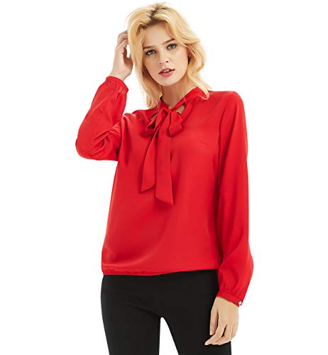 Basic Model Womens Chiffon Blouse Bow Tie Neck Tops Long Sleeve Casual Office Work T Shirts(Red,L)
