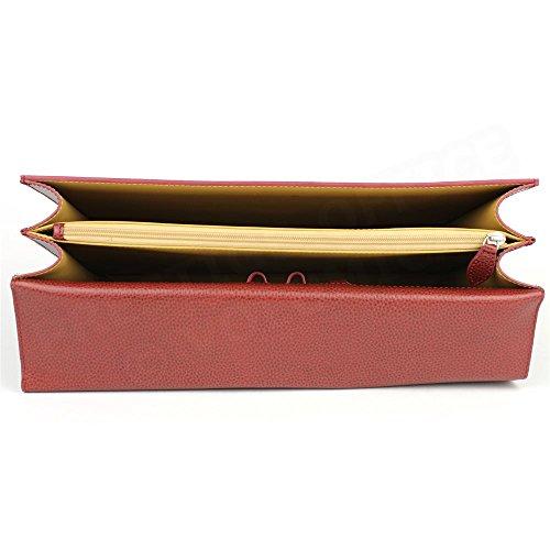 Serviette 2 soufflets cuir Rouge bordeaux Beaubourg