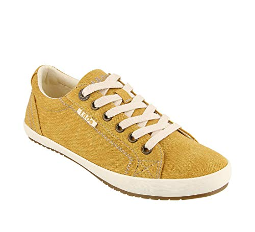 (Taos Footwear Women's Star Golden Yellow Wash Canvas Sneaker 11 M US)