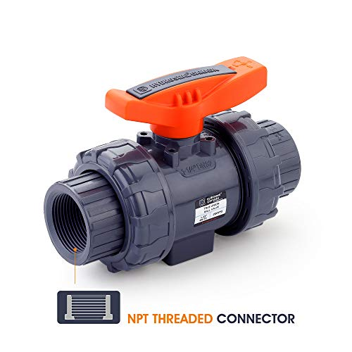 "HYDROSEAL Kaplan 1 1/4"" PVC True Union Ball Valve Threaded (NPT) with Full Port, ASTM F1970, EPDM O-Rings and Reversible PTFE Seats"