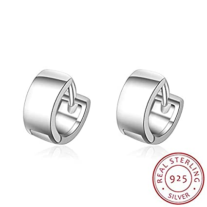 a443b4c16 Image Unavailable. Image not available for. Colour: Punk Simple 925  Sterling Silver Small Circles Huggie Hoop Earrings For Women Men Brinco  Bijoux Fashion
