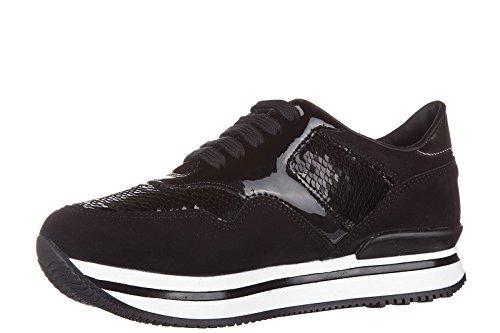 Hogan chaussures baskets sneakers filles en daim neuves j222 allacciato noir