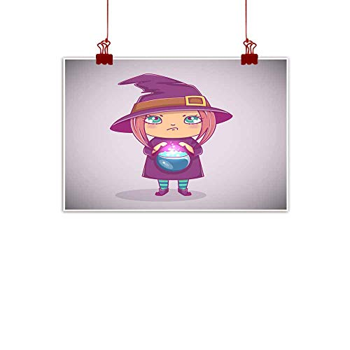 Mannwarehouse Simulation Oil Painting Halloween Little Witch Girl Kid with Angry face in Halloween Costume with Cauldron Vector Illustration Decorative Painted Sofa Background Wall 47