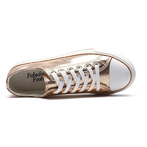 ZGR Damen Fashion Canvas Sneaker Low Cut High Cut Spitze UPS Freizeitschuhe Rose Gold1