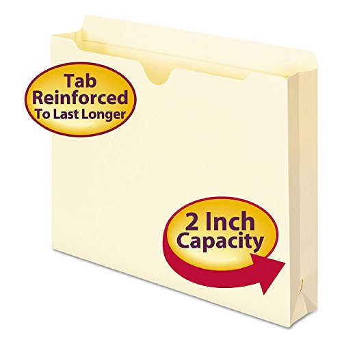 Smead File Jacket, Reinforced Straight Cut Tab, 2 inch Expansion, Letter Size, Manila MYMdUZ, 250 count (75560) by Smead