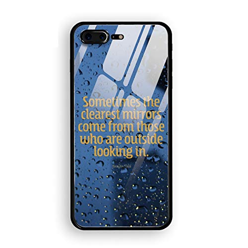Quotation Motivation Drops Glass iPhone 8 Plus Case, Thin Tempered Glass Back Cover and Soft Silicone Rubber Bumper Frame Support Wireless Charging Compatible for iPhone 8 Plus