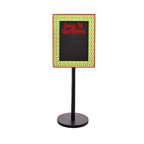 Days Til Christmas , Teacher's Gift, Dual Sided Standing Chalkboards (Green Geometric - Days 'till Christmas Days) (Countdown Christmas Calendar Banner)