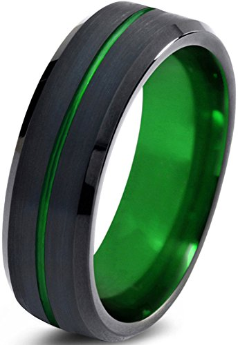 Tungsten Wedding Band Ring 6mm for Men Women Green Black Beveled Edge Brushed Polished Center Line Size 12.5 by Chroma Color Collection