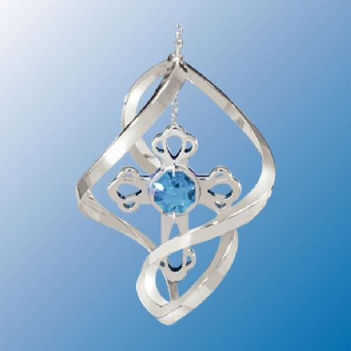 Austrian Cross Crystal - Chrome Plated Mini Cross in Lime Shape... Hanging Sun Catcher or Ornament..... With Blue Color Swarovski Austrian Crystal