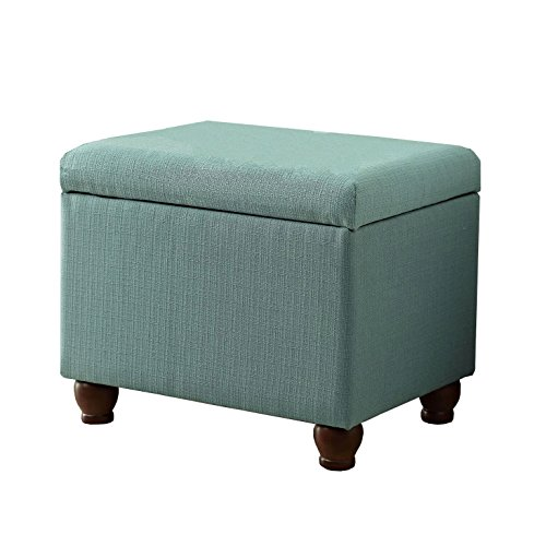 HomePop  Rectangular Deep Storage Ottoman with Hinged Lid, Aqua Linen