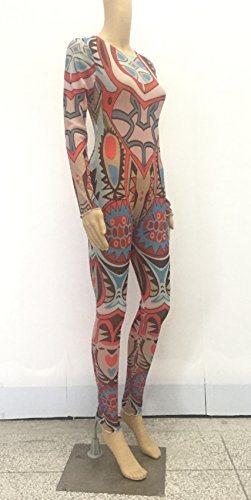 Women Jumpsuits Tribal Tattoo Printed Dumpsuit Sexy Bodysuit Playsuit, Small