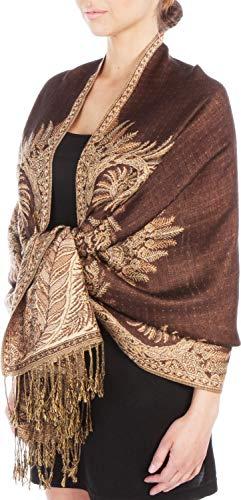 "70 x 28"" Big Paisley Jacquard Double Layer Woven Pashmina Shawl/Wrap / Stole - Dark Chocolate"""