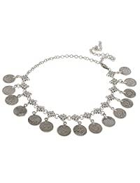 Antique Silver Bohemian Gypsy Coins Tassel Head Chain Headpieces Jewelry