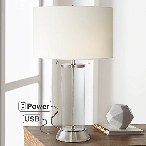 Fritz Coastal Table Lamp with USB and AC Power Outlet in Base Silver Clear Glass Column Drum Shade for Living Room - Possini Euro ()