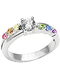 Female Lesbian Love Step CZ Rainbow Ring. Rainbow Pride Jewelry (Gay Wedding Marriage or Engagement band). Great as Gay Gift or Wedding Marriage or Engagement band w/ CZ Stones). GLBT / LGBT